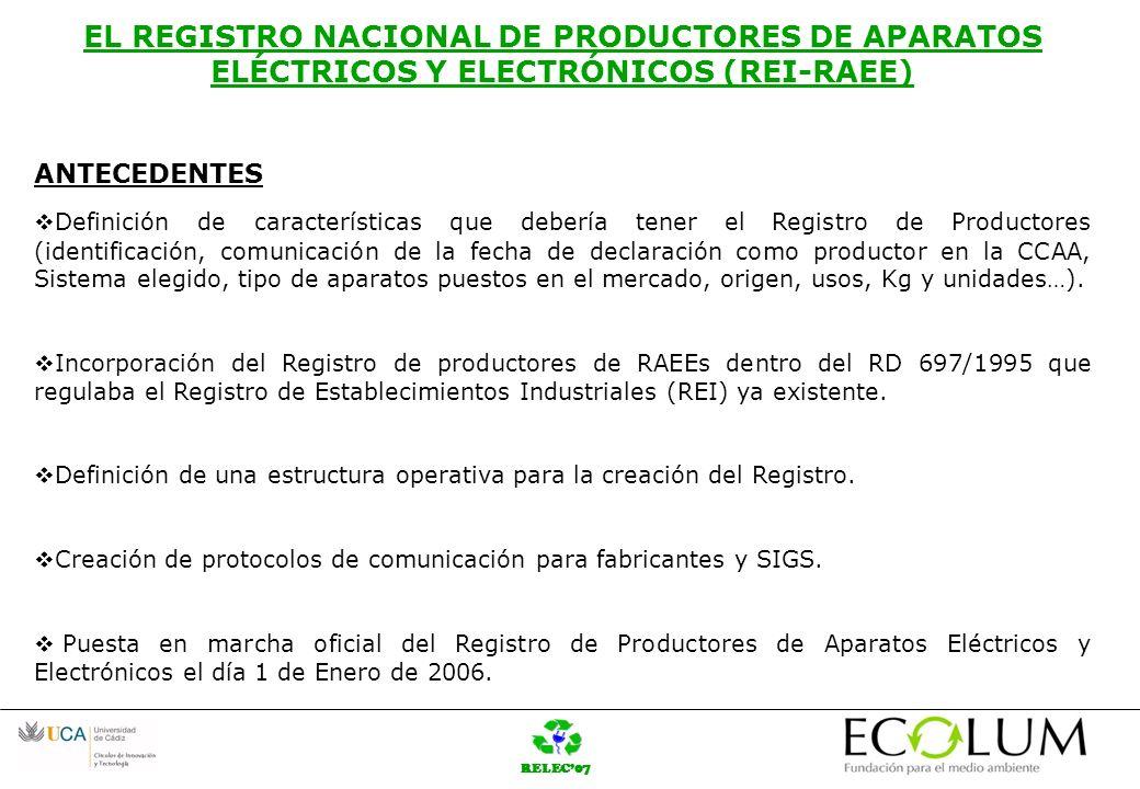 RELEC07 EL REGISTRO NACIONAL DE PRODUCTORES DE APARATOS ELÉCTRICOS Y ELECTRÓNICOS (REI-RAEE) CONSULTAS AL REGISTRO.
