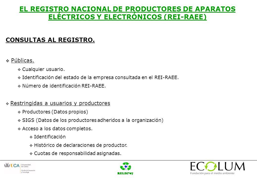 RELEC07 EL REGISTRO NACIONAL DE PRODUCTORES DE APARATOS ELÉCTRICOS Y ELECTRÓNICOS (REI-RAEE) CONCLUSIONES: Potente herramienta para el control y cumplimiento de la Normativa RAEE.