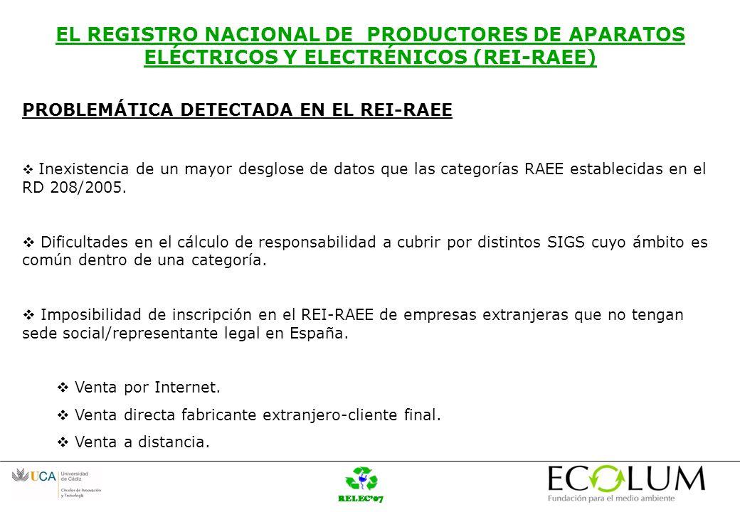 RELEC07 EL REGISTRO NACIONAL DE PRODUCTORES DE APARATOS ELÉCTRICOS Y ELECTRÉNICOS (REI-RAEE) PROBLEMÁTICA DETECTADA EN EL REI-RAEE Inexistencia de un mayor desglose de datos que las categorías RAEE establecidas en el RD 208/2005.
