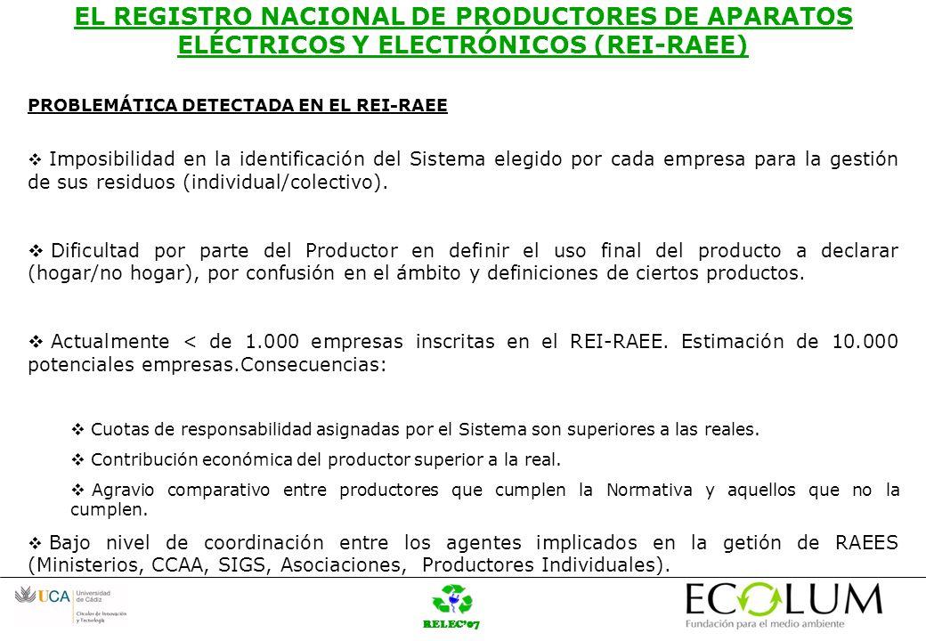 RELEC07 EL REGISTRO NACIONAL DE PRODUCTORES DE APARATOS ELÉCTRICOS Y ELECTRÓNICOS (REI-RAEE) ASPECTOS A MEJORAR Coordinación de la información aportada/recibida entre MITYC,MMA, CCAA, SIGS y productores.