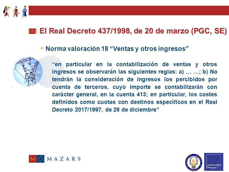El Real Decreto 437/1998, de 20 de marzo (PGC, SE) Introducción El grupo 7 también incluye modificaciones, que afectan particularmente al subgrupo 70, en el que se contabilizan los ingresos que obtienen las empresas del sector eléctrico en el desarrollo de su actividad.