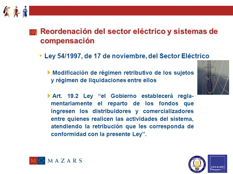 Reordenación del sector eléctrico y sistemas de compensación Ley 54/1997, de 17 de noviembre, del Sector Eléctrico Liberalización Introducción competencia.