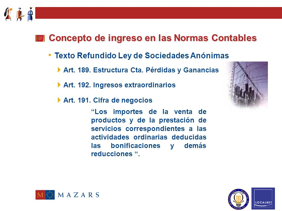 Código de Comercio (art. 35.2 y 38.1 d) Concepto de ingreso en las Normas Contables