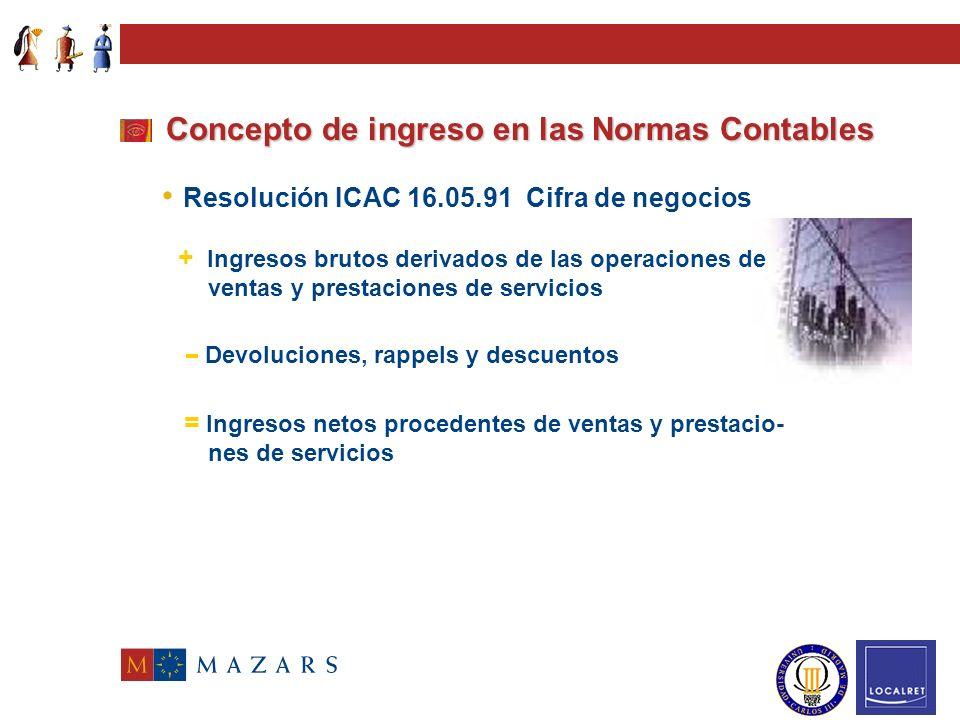 Concepto de ingreso en las Normas Contables Texto Refundido Ley de Sociedades Anónimas Plan General de Contabilidad Grupo 7.