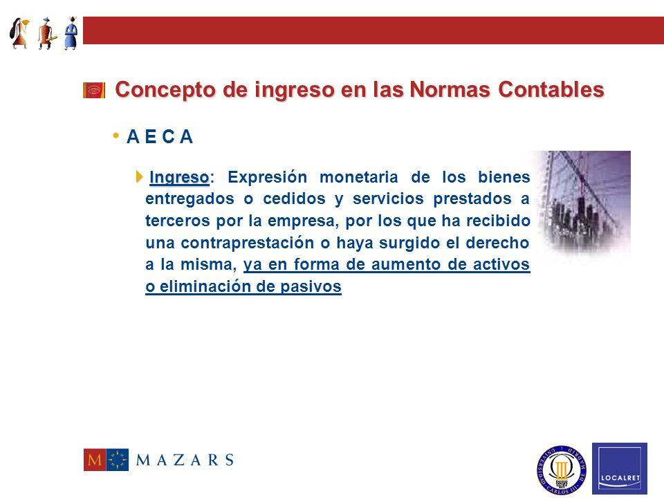Plan General de Contabilidad Concepto de ingreso en las Normas Contables + Ingresos brutos derivados de las operaciones de ventas y prestaciones de se