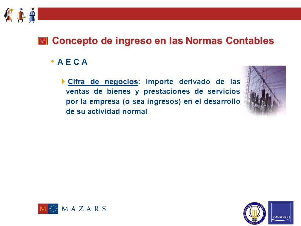 Concepto de ingreso en las Normas Contables Resolución ICAC 16.05.91 Cifra de negocios A E C A Ingreso Ingreso: Expresión monetaria de los bienes entr