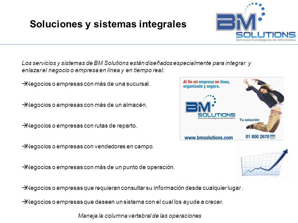 Soluciones y sistemas integrales Los servicios y sistemas de BM Solutions están diseñados especialmente para integrar y enlazar el negocio o empresa e