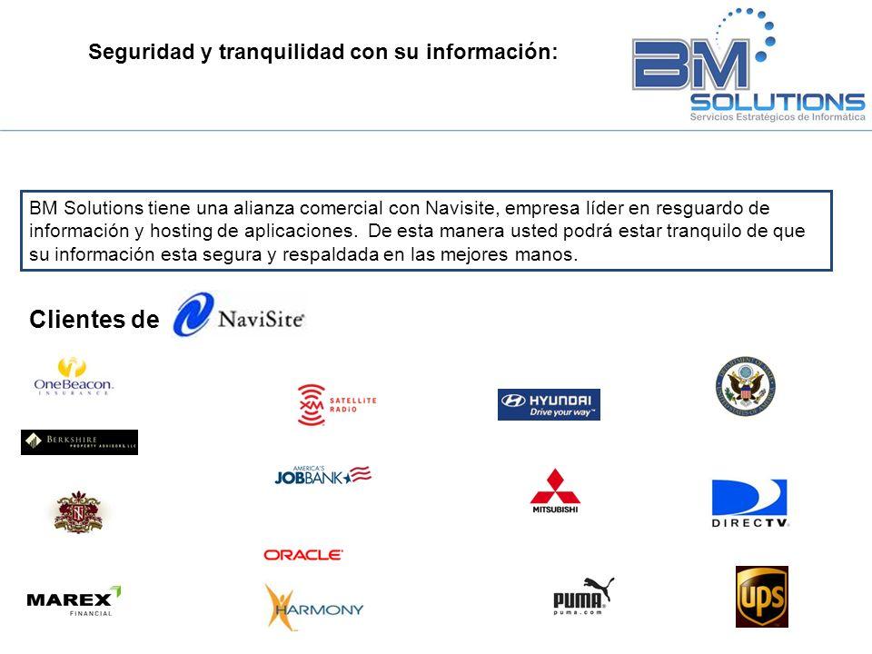 Seguridad y tranquilidad con su información: BM Solutions tiene una alianza comercial con Navisite, empresa líder en resguardo de información y hostin