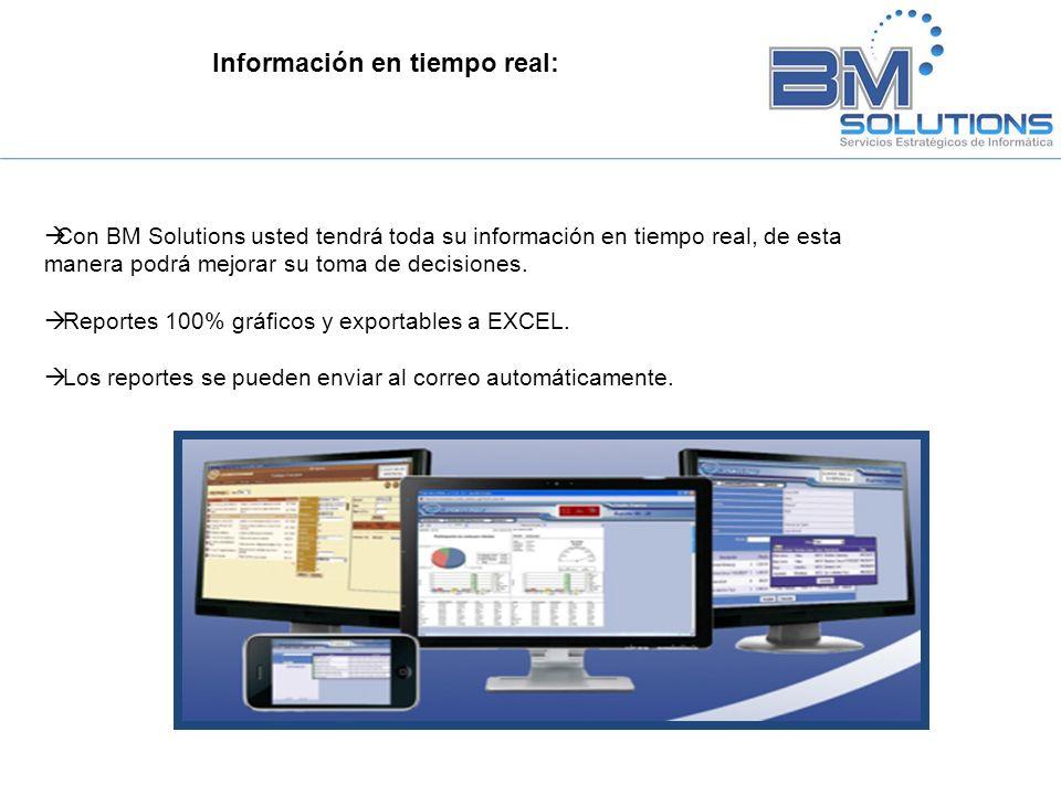 Información en tiempo real: Con BM Solutions usted tendrá toda su información en tiempo real, de esta manera podrá mejorar su toma de decisiones. Repo