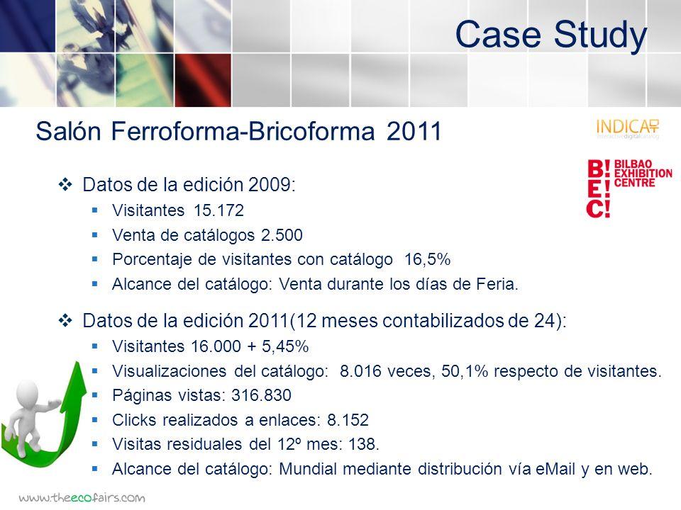 Case Study Datos de la edición 2009: Visitantes15.172 Venta de catálogos2.500 Porcentaje de visitantes con catálogo 16,5% Alcance del catálogo: Venta durante los días de Feria.
