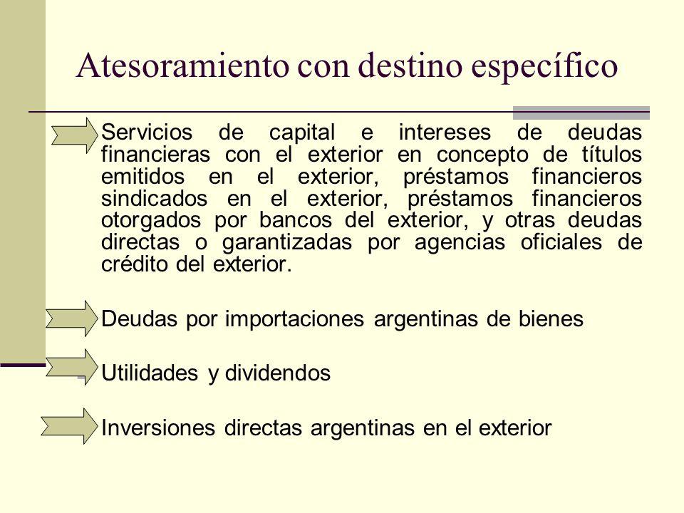 Atesoramiento con destino específico Servicios de capital e intereses de deudas financieras con el exterior en concepto de títulos emitidos en el exte