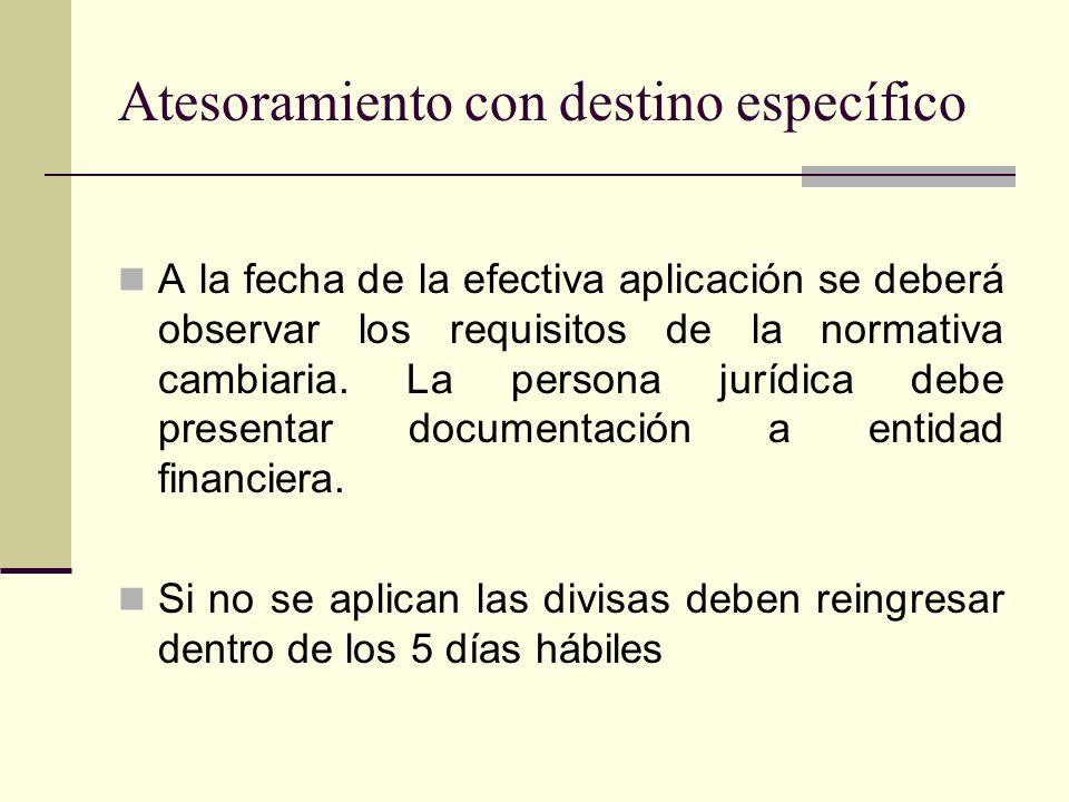 Atesoramiento con destino específico A la fecha de la efectiva aplicación se deberá observar los requisitos de la normativa cambiaria. La persona jurí