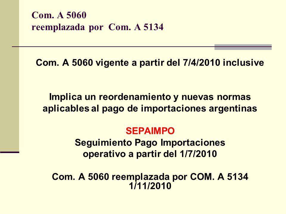 Com. A 5060 reemplazada por Com. A 5134 Com. A 5060 vigente a partir del 7/4/2010 inclusive Implica un reordenamiento y nuevas normas aplicables al pa