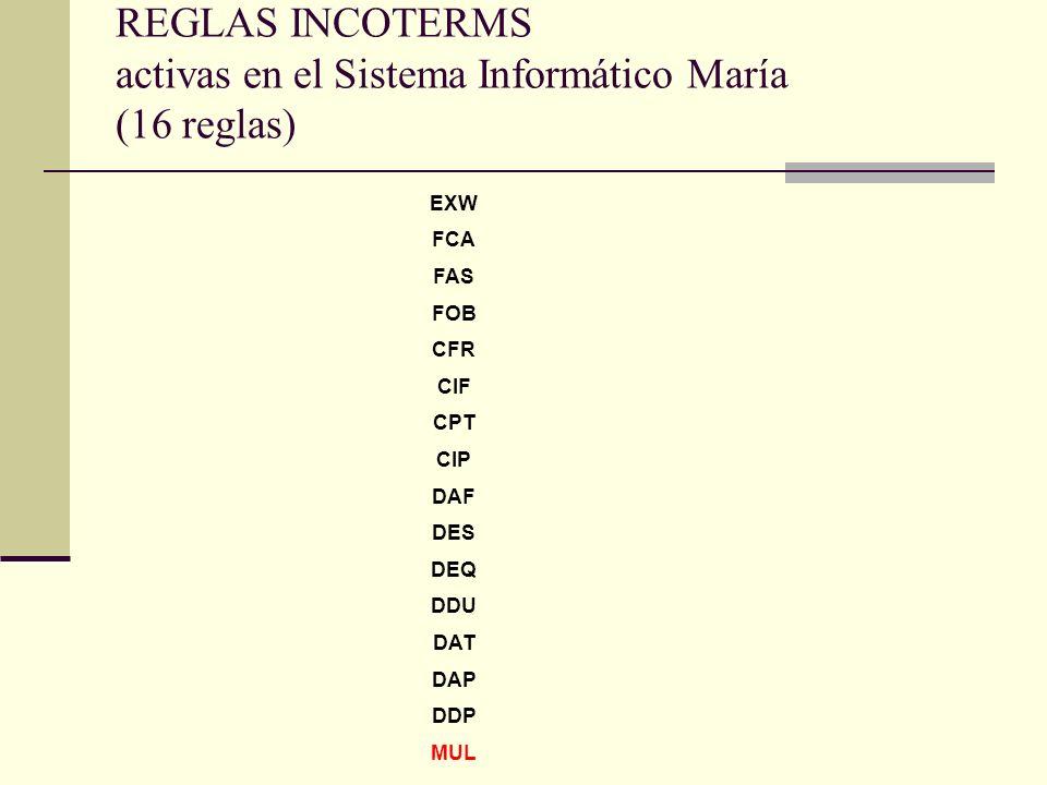 REGLAS INCOTERMS activas en el Sistema Informático María (16 reglas) EXW FCA FAS FOB CFR CIF CPT CIP DAF DES DEQ DDU DAT DAP DDP MUL