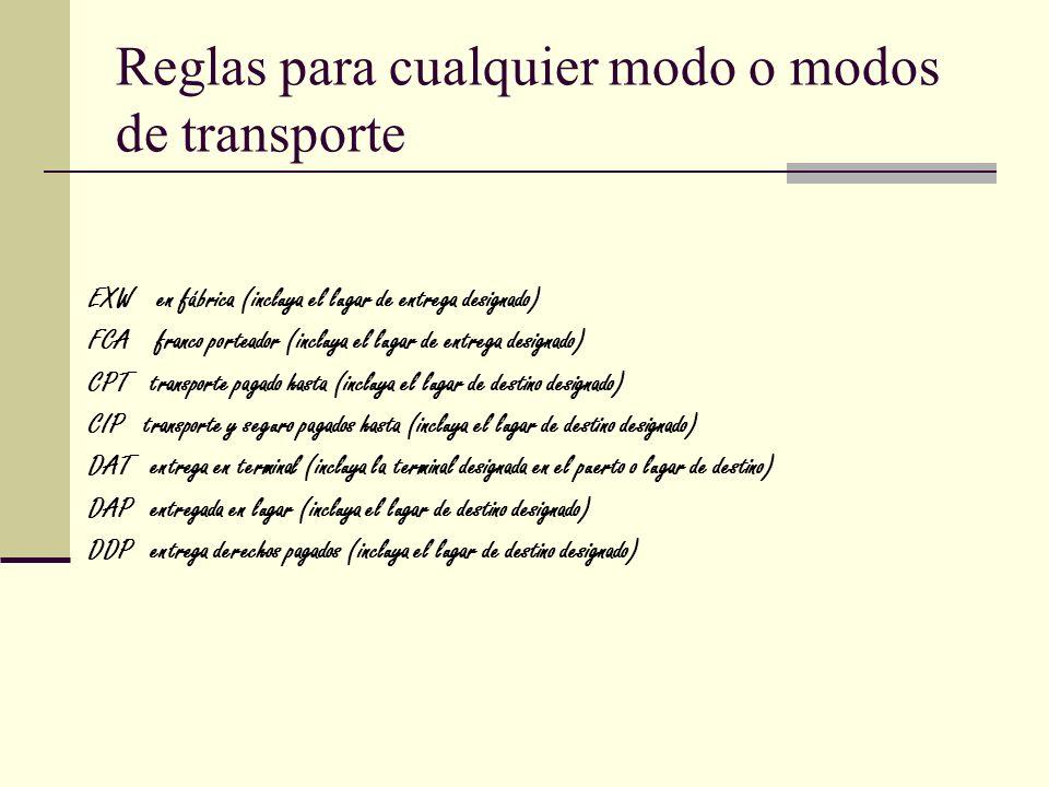 Reglas para cualquier modo o modos de transporte EXW en fábrica (incluya el lugar de entrega designado) FCA franco porteador (incluya el lugar de entr