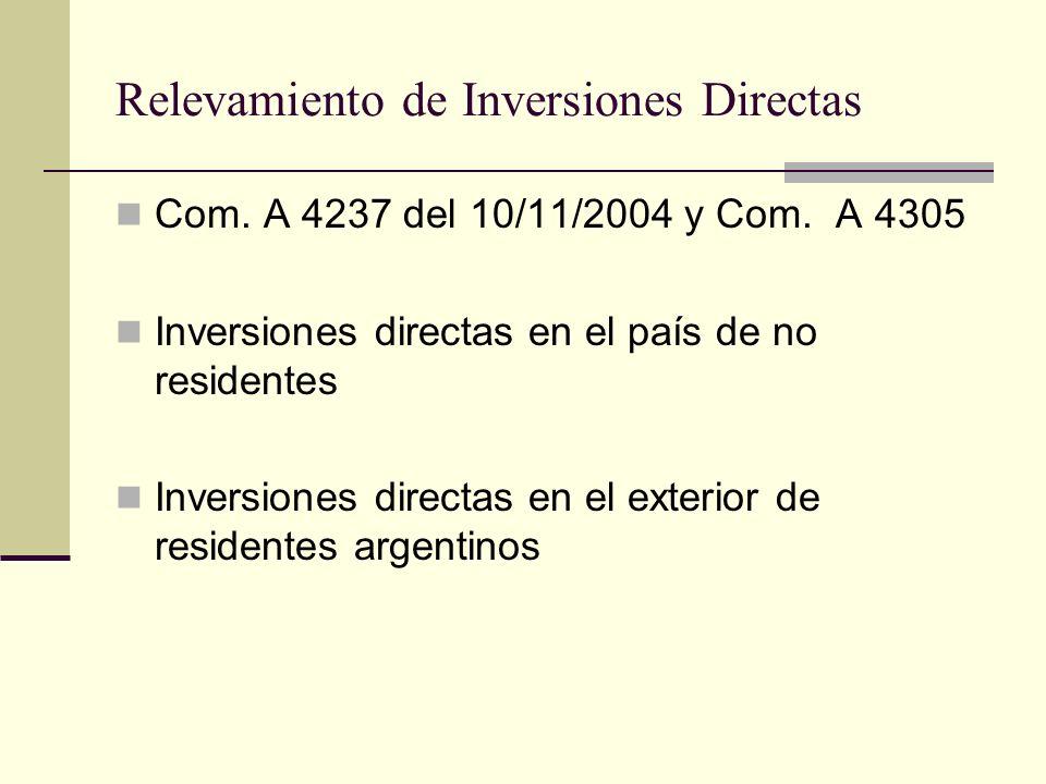 Relevamiento de Inversiones Directas Com. A 4237 del 10/11/2004 y Com. A 4305 Inversiones directas en el país de no residentes Inversiones directas en
