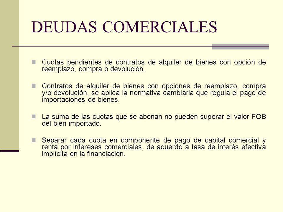 DEUDAS COMERCIALES Cuotas pendientes de contratos de alquiler de bienes con opción de reemplazo, compra o devolución. Contratos de alquiler de bienes