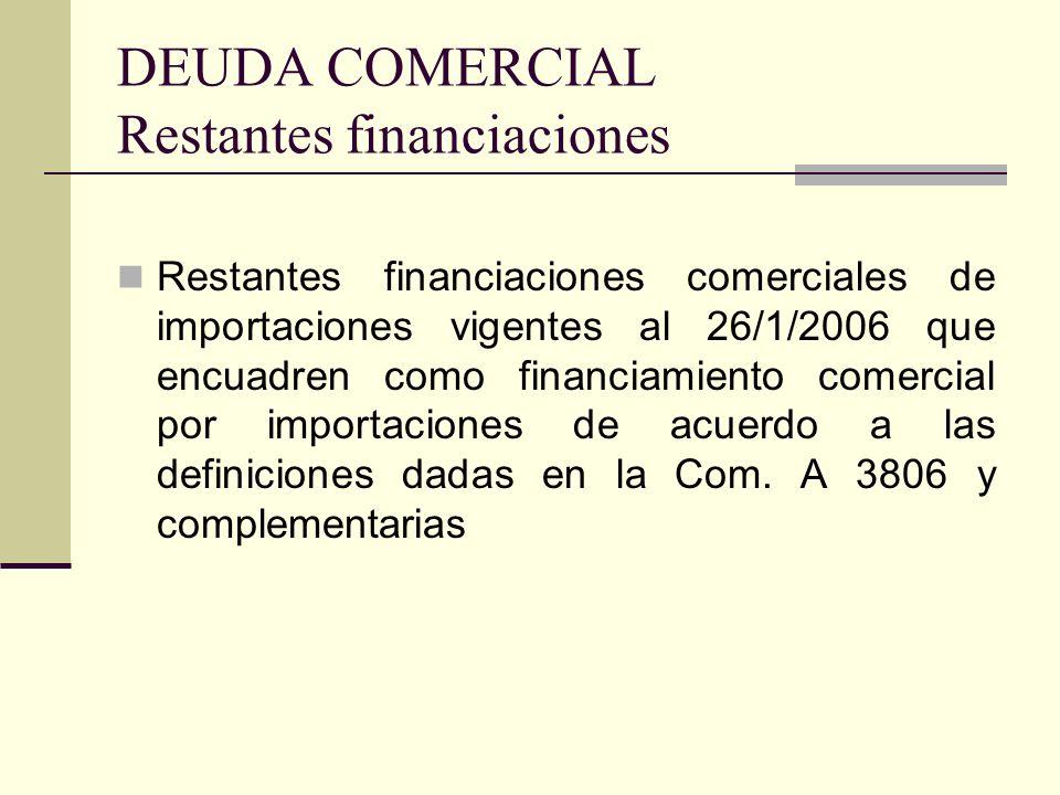 DEUDA COMERCIAL Restantes financiaciones Restantes financiaciones comerciales de importaciones vigentes al 26/1/2006 que encuadren como financiamiento