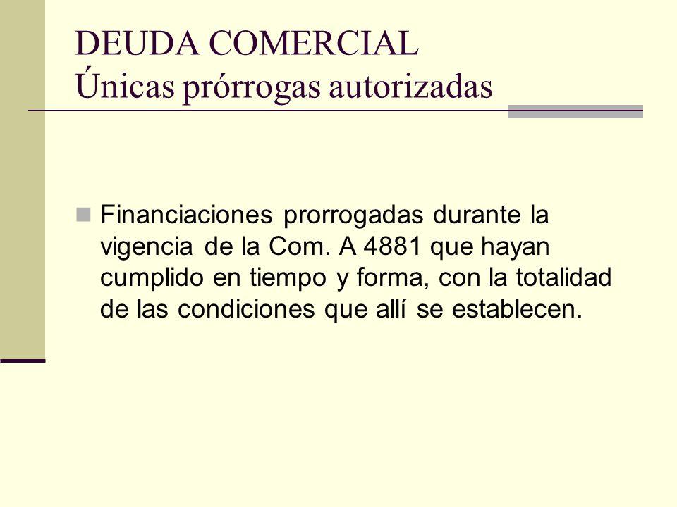 DEUDA COMERCIAL Únicas prórrogas autorizadas Financiaciones prorrogadas durante la vigencia de la Com. A 4881 que hayan cumplido en tiempo y forma, co