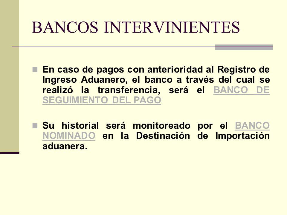 BANCOS INTERVINIENTES En caso de pagos con anterioridad al Registro de Ingreso Aduanero, el banco a través del cual se realizó la transferencia, será