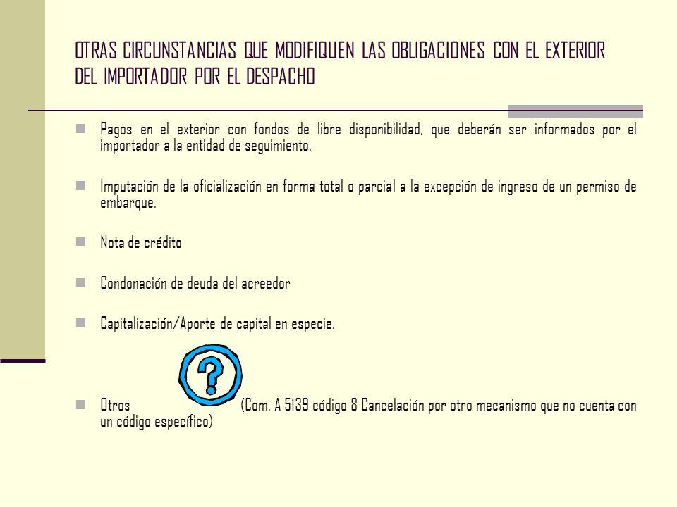 OTRAS CIRCUNSTANCIAS QUE MODIFIQUEN LAS OBLIGACIONES CON EL EXTERIOR DEL IMPORTADOR POR EL DESPACHO Pagos en el exterior con fondos de libre disponibi