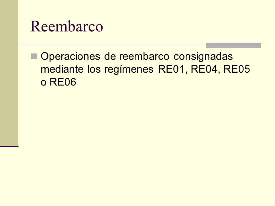 Reembarco Operaciones de reembarco consignadas mediante los regímenes RE01, RE04, RE05 o RE06