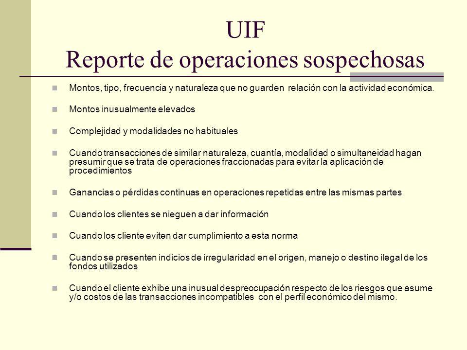 UIF Reporte de operaciones sospechosas Montos, tipo, frecuencia y naturaleza que no guarden relación con la actividad económica. Montos inusualmente e