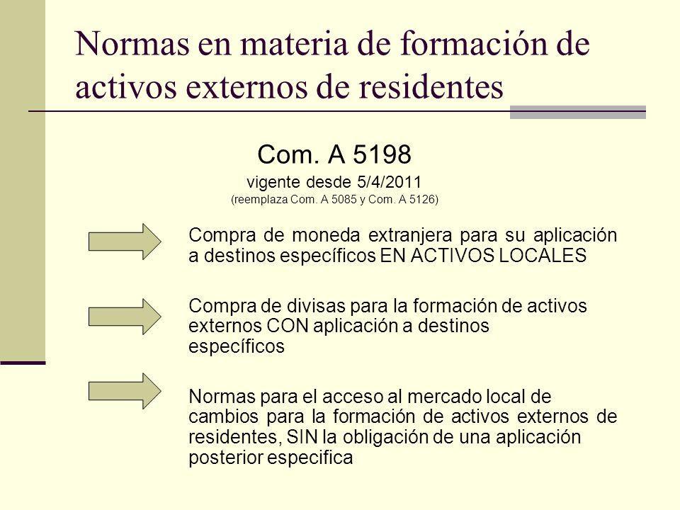 Normas en materia de formación de activos externos de residentes Com. A 5198 vigente desde 5/4/2011 (reemplaza Com. A 5085 y Com. A 5126) Compra de mo