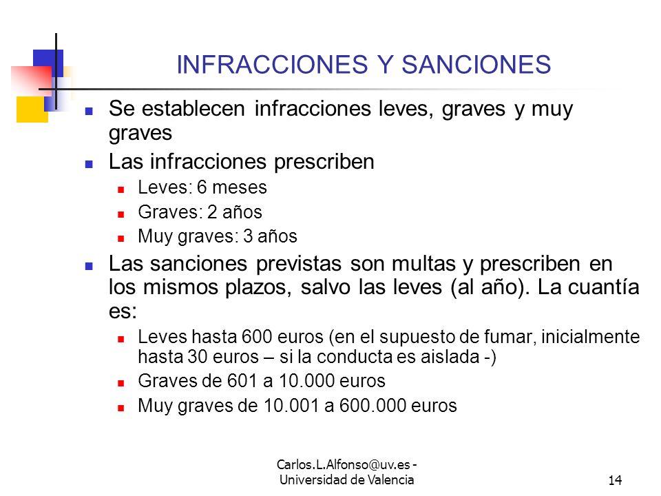 Carlos.L.Alfonso@uv.es - Universidad de Valencia13 PROGRAMAS DE DESHABITUACIÓN Se establece la obligación de las Administraciones de implantar program