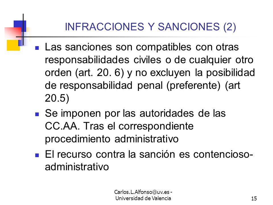 Carlos.L.Alfonso@uv.es - Universidad de Valencia14 INFRACCIONES Y SANCIONES Se establecen infracciones leves, graves y muy graves Las infracciones pre