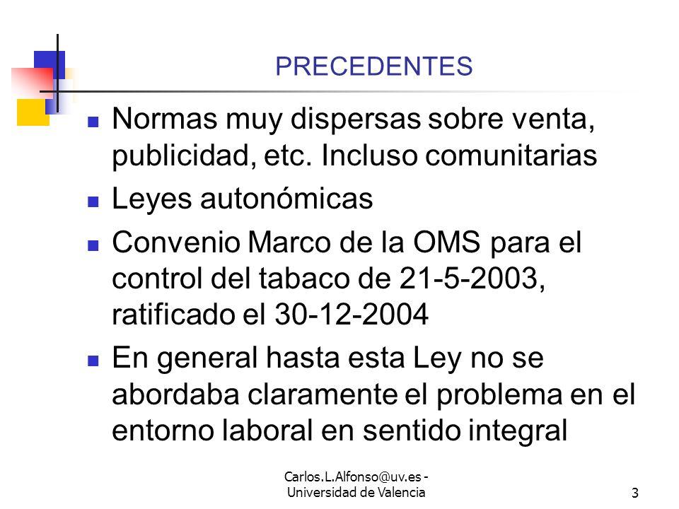 Carlos.L.Alfonso@uv.es - Universidad de Valencia2 INTRODUCCIÓN Ley de medidas sanitarias frente al tabaquismo y reguladora de la venta, el suministro,