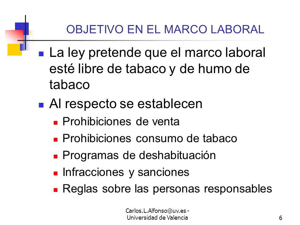 Carlos.L.Alfonso@uv.es - Universidad de Valencia5 PUNTO DE PARTIDA LEGAL El tabaco es nocivo No sólo para el fumador OMS considera que la exposición a