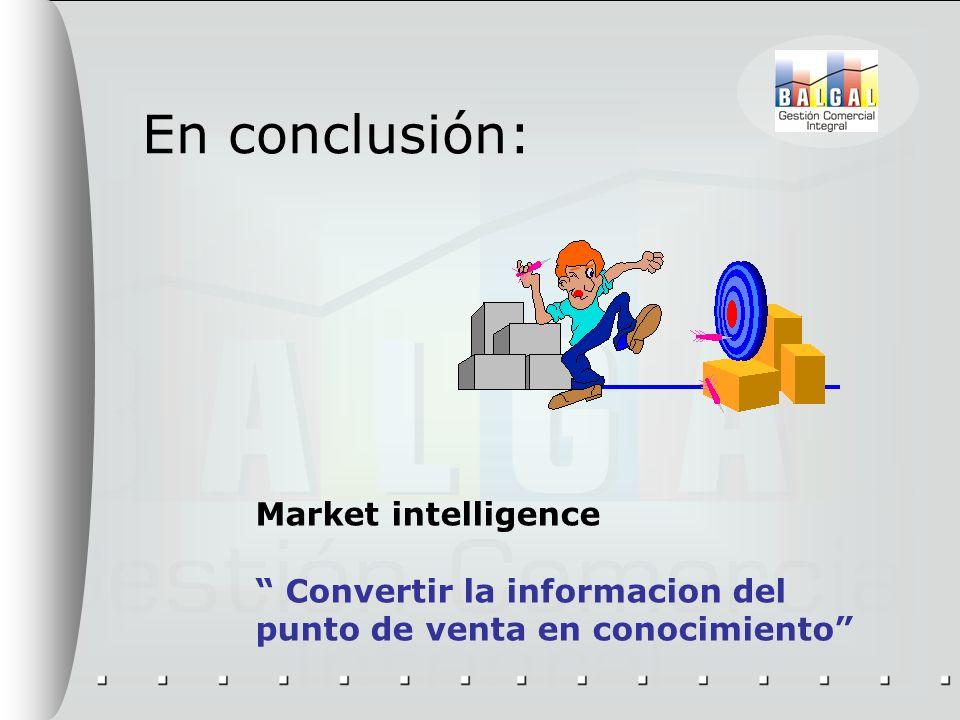 En conclusión: Market intelligence Convertir la informacion del punto de venta en conocimiento