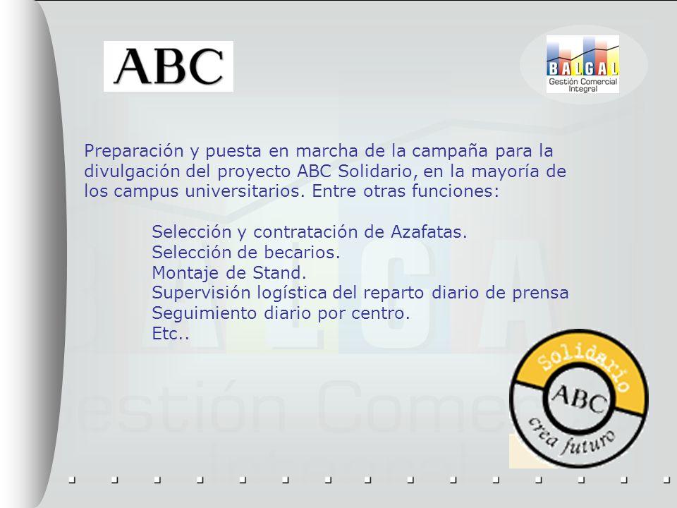 Preparación y puesta en marcha de la campaña para la divulgación del proyecto ABC Solidario, en la mayoría de los campus universitarios. Entre otras f