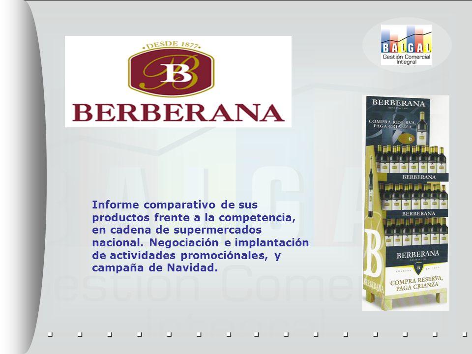 Informe comparativo de sus productos frente a la competencia, en cadena de supermercados nacional. Negociación e implantación de actividades promoción