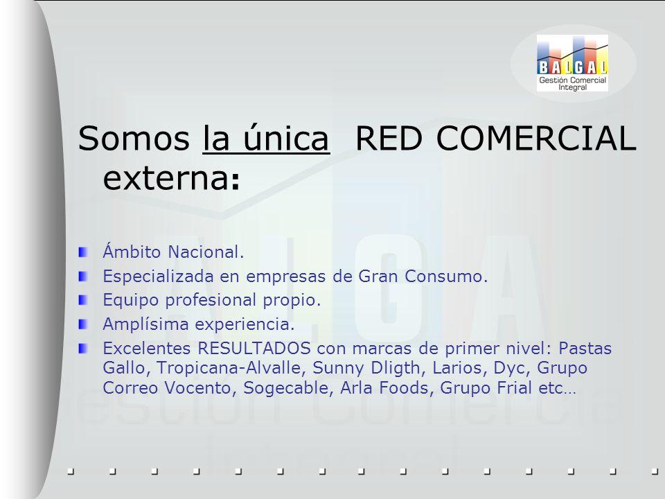 Somos la única RED COMERCIAL externa : Ámbito Nacional. Especializada en empresas de Gran Consumo. Equipo profesional propio. Amplísima experiencia. E