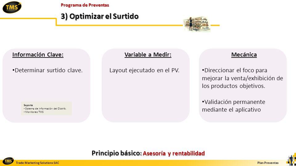 Trade Marketing Solutions SACPlan Preventas Programa de Preventas 3) Optimizar el Surtido Información Clave: Determinar surtido clave. Variable a Medi
