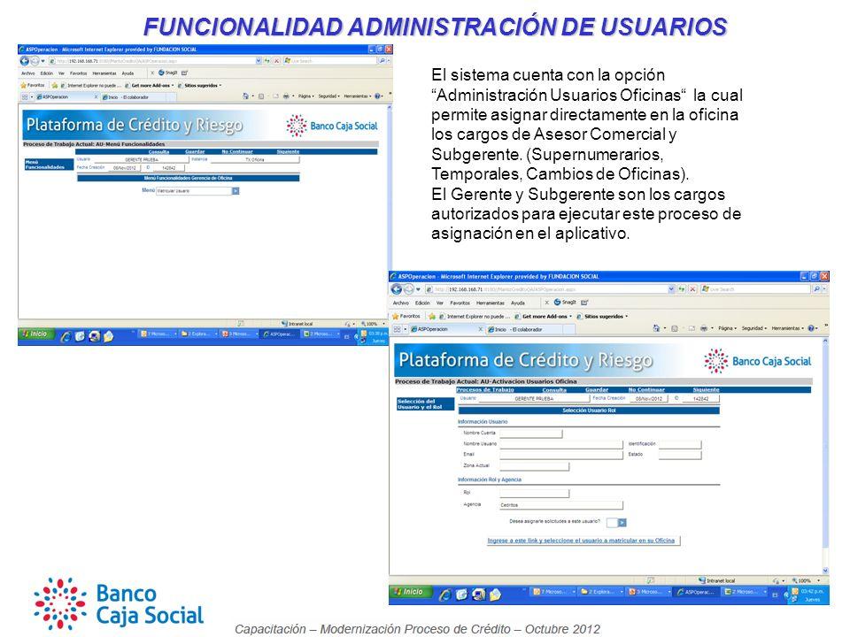 FUNCIONALIDAD ADMINISTRACIÓN DE USUARIOS FUNCIONALIDAD ADMINISTRACIÓN DE USUARIOS El sistema cuenta con la opción Administración Usuarios Oficinas la cual permite asignar directamente en la oficina los cargos de Asesor Comercial y Subgerente.
