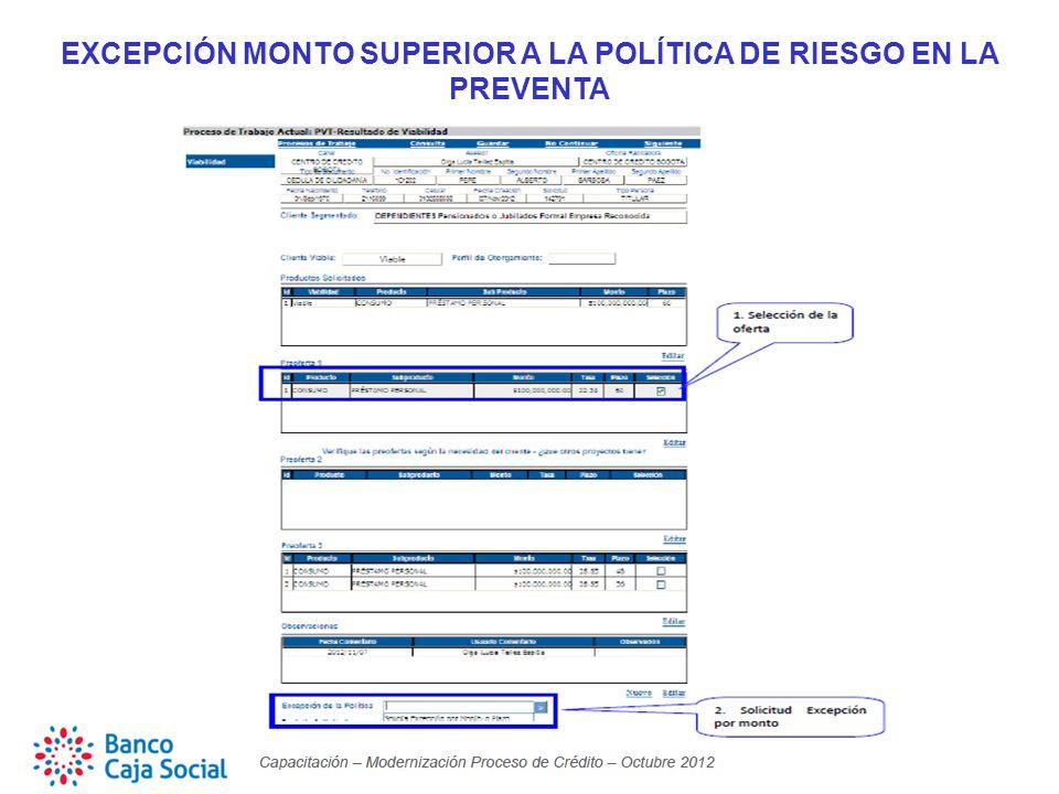 EXCEPCIÓN MONTO SUPERIOR A LA POLÍTICA DE RIESGO EN LA PREVENTA