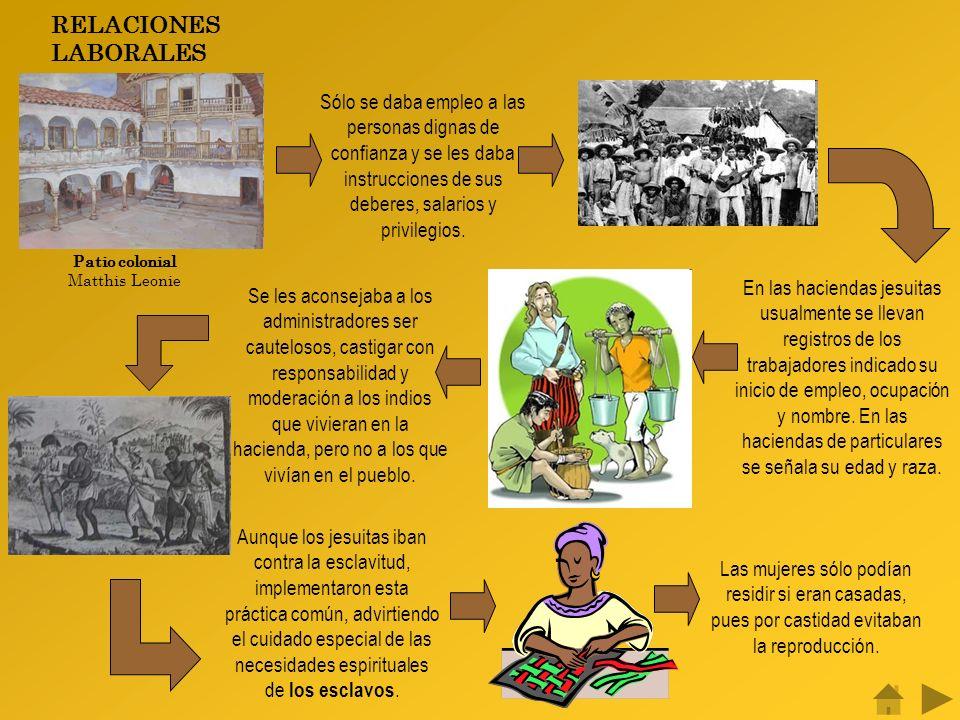 RELACIONES LABORALES Patio colonial Matthis Leonie Sólo se daba empleo a las personas dignas de confianza y se les daba instrucciones de sus deberes, salarios y privilegios.