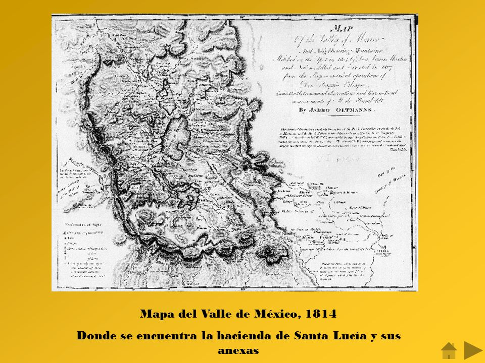Mapa del Valle de México, 1814 Donde se encuentra la hacienda de Santa Lucía y sus anexas