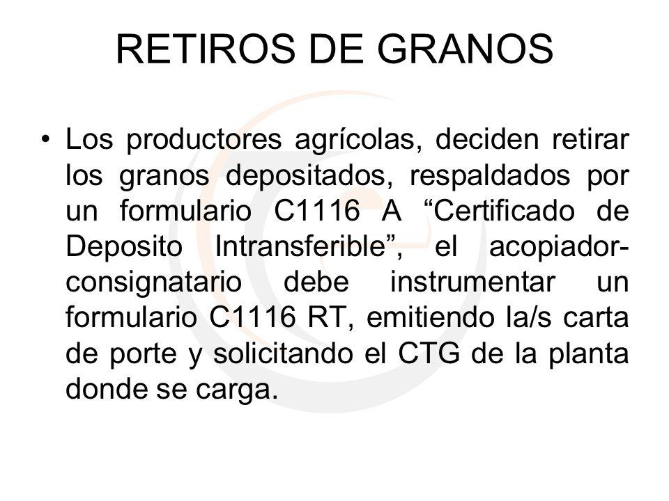 RETIROS DE GRANOS Los productores agrícolas, deciden retirar los granos depositados, respaldados por un formulario C1116 A Certificado de Deposito Int