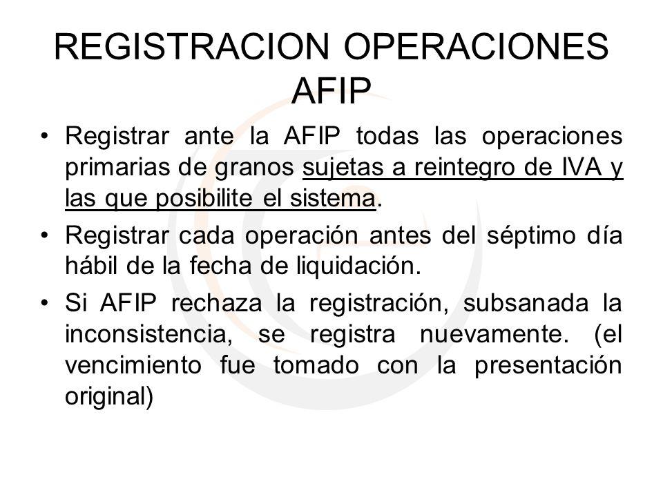 REGISTRACION OPERACIONES AFIP Registrar ante la AFIP todas las operaciones primarias de granos sujetas a reintegro de IVA y las que posibilite el sist