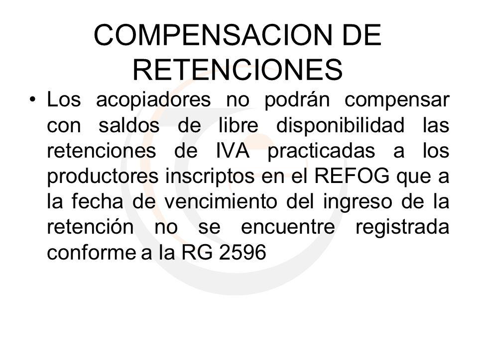 COMPENSACION DE RETENCIONES Los acopiadores no podrán compensar con saldos de libre disponibilidad las retenciones de IVA practicadas a los productore
