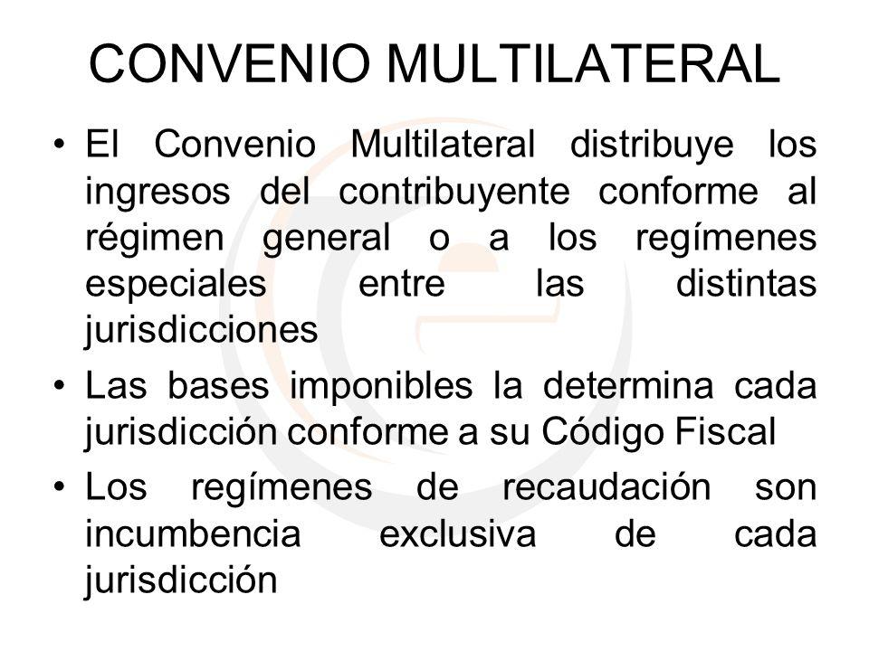 CONVENIO MULTILATERAL El Convenio Multilateral distribuye los ingresos del contribuyente conforme al régimen general o a los regímenes especiales entr