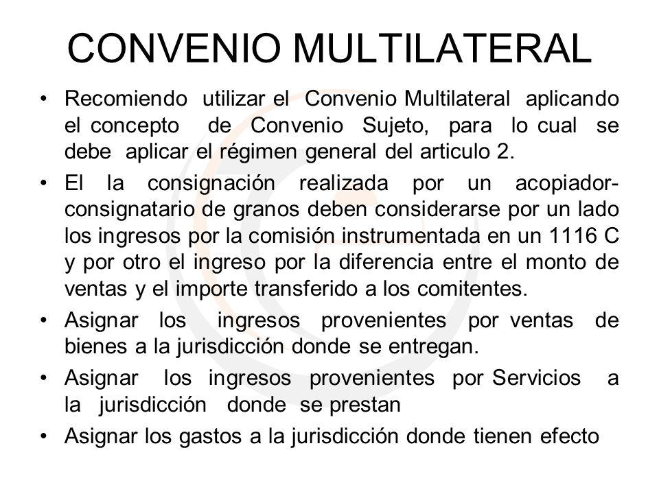 CONVENIO MULTILATERAL Recomiendo utilizar el Convenio Multilateral aplicando el concepto de Convenio Sujeto, para lo cual se debe aplicar el régimen g