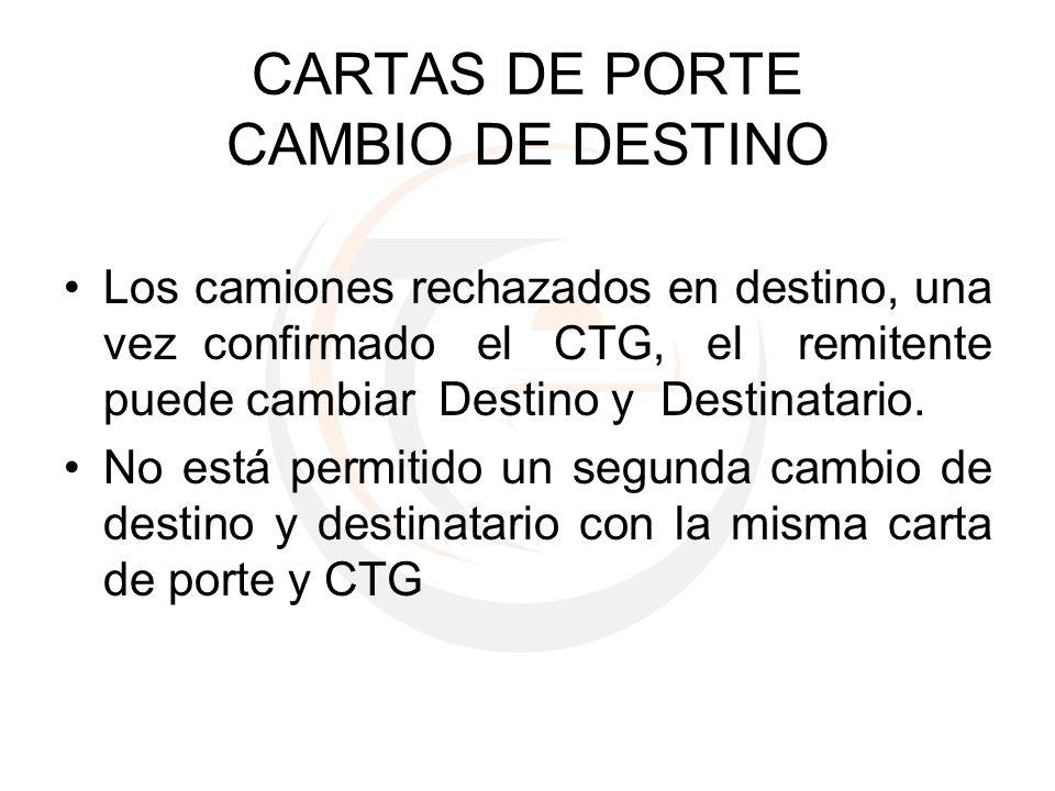 CARTAS DE PORTE CAMBIO DE DESTINO Los camiones rechazados en destino, una vez confirmado el CTG, el remitente puede cambiar Destino y Destinatario. No