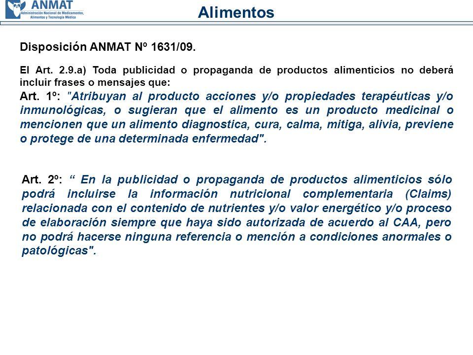 Alimentos Disposición ANMAT Nº 1631/09.El Art.
