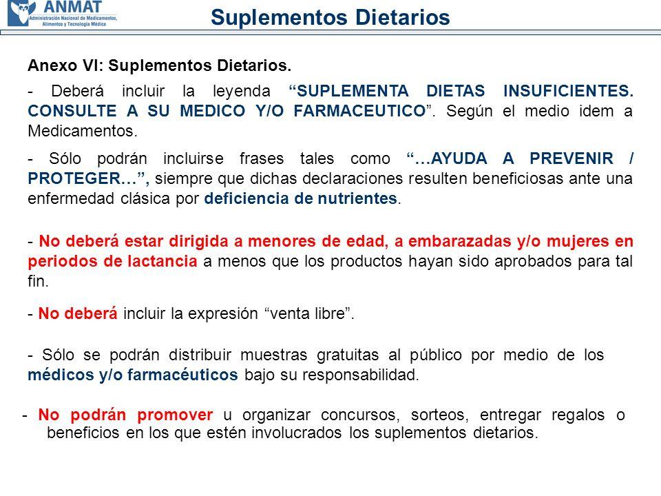Suplementos Dietarios Anexo VI: Suplementos Dietarios.