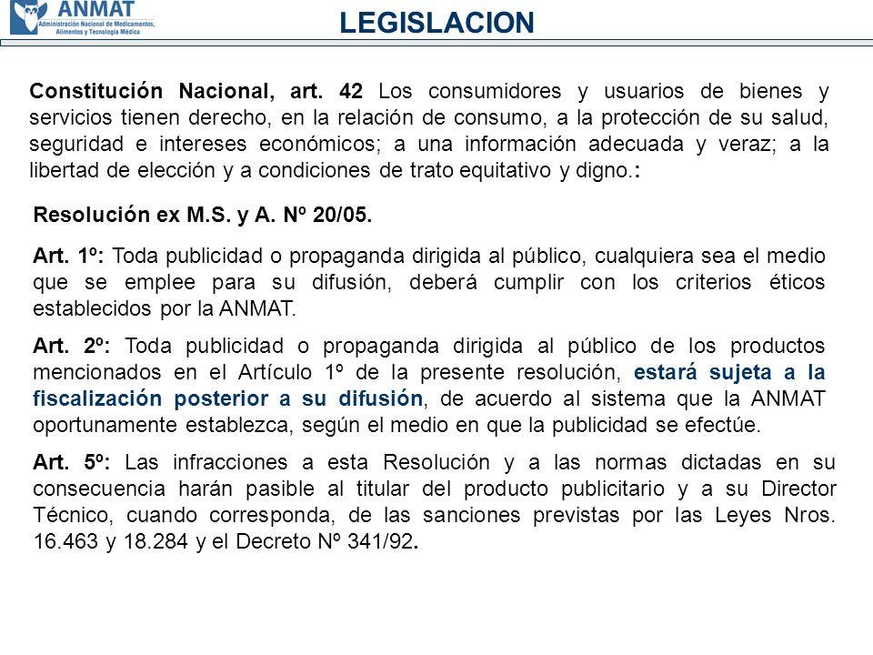 LEGISLACION Constitución Nacional, art.